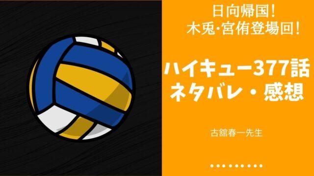 ハイキュー 377話 ネタバレ 感想
